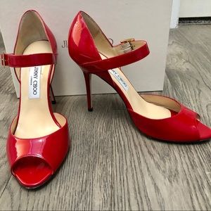 Red Patent Leather Jimmy Choo 247LACE Sz 9